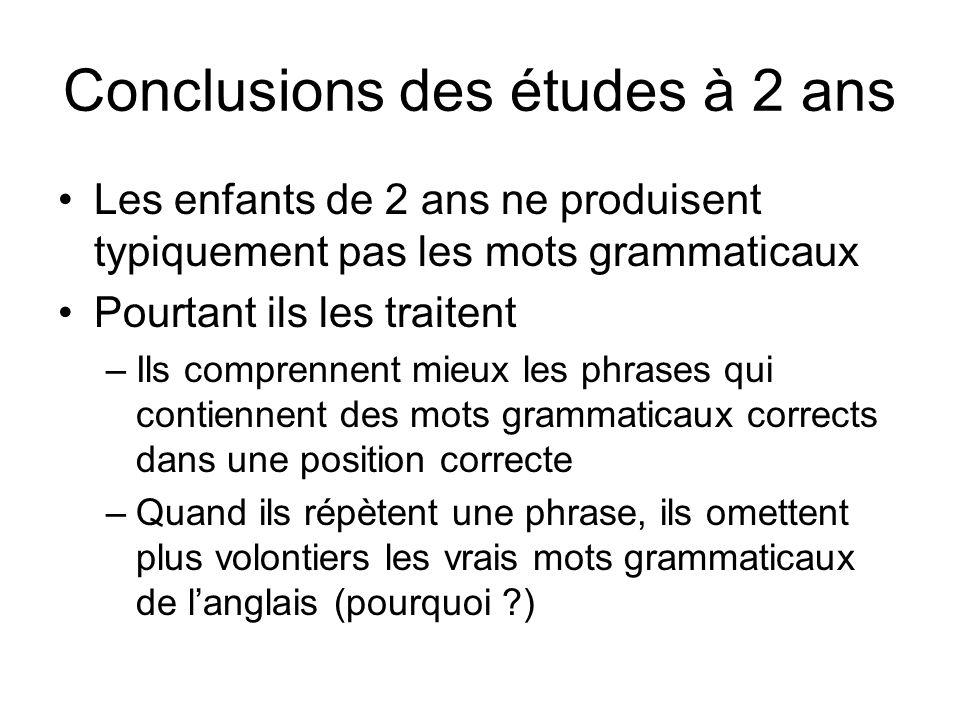 Conclusions des études à 2 ans