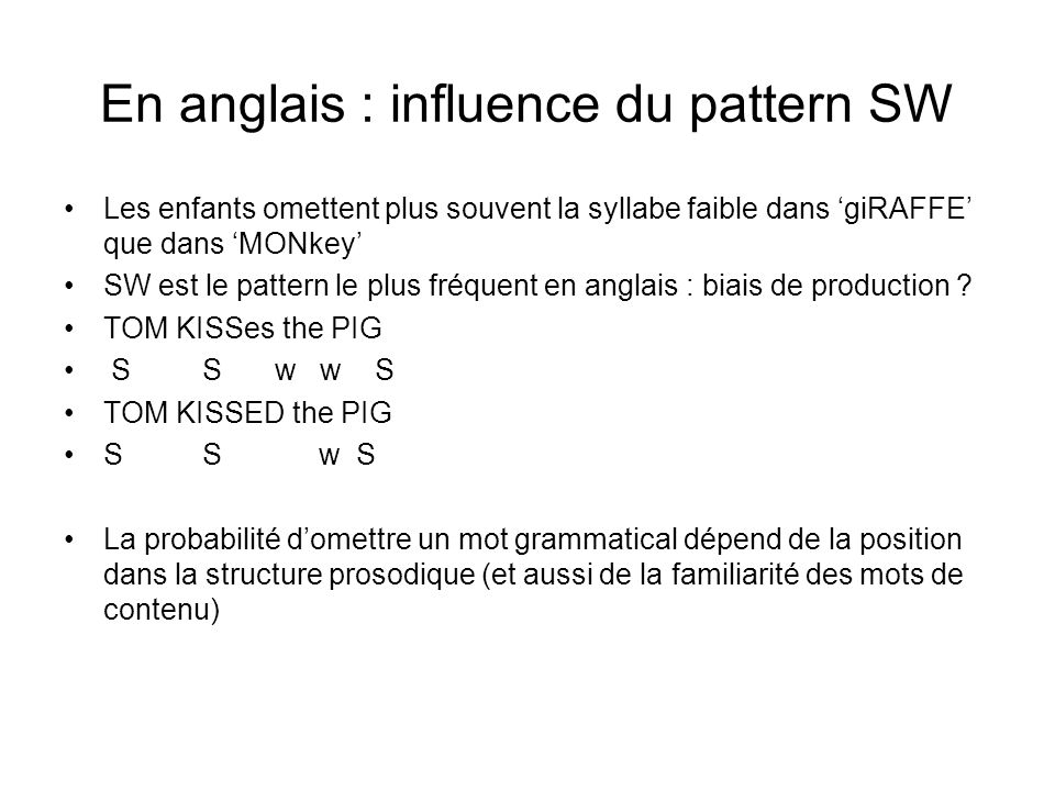 En anglais : influence du pattern SW