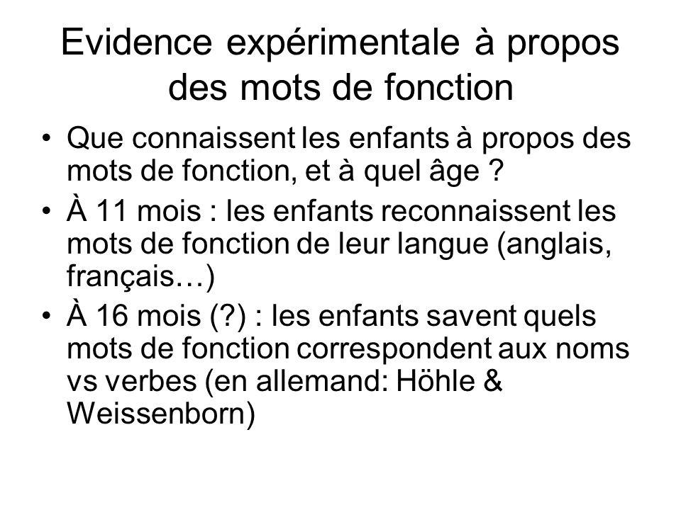 Evidence expérimentale à propos des mots de fonction