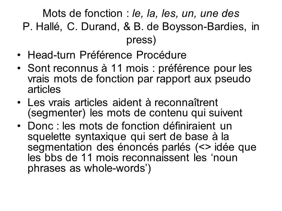 Mots de fonction : le, la, les, un, une des P. Hallé, C. Durand, & B
