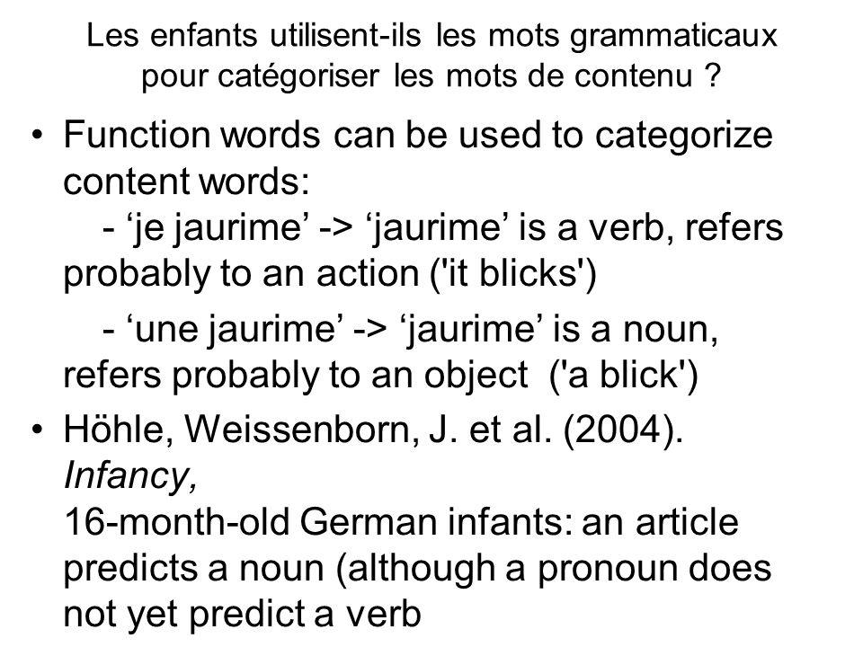 Les enfants utilisent-ils les mots grammaticaux pour catégoriser les mots de contenu