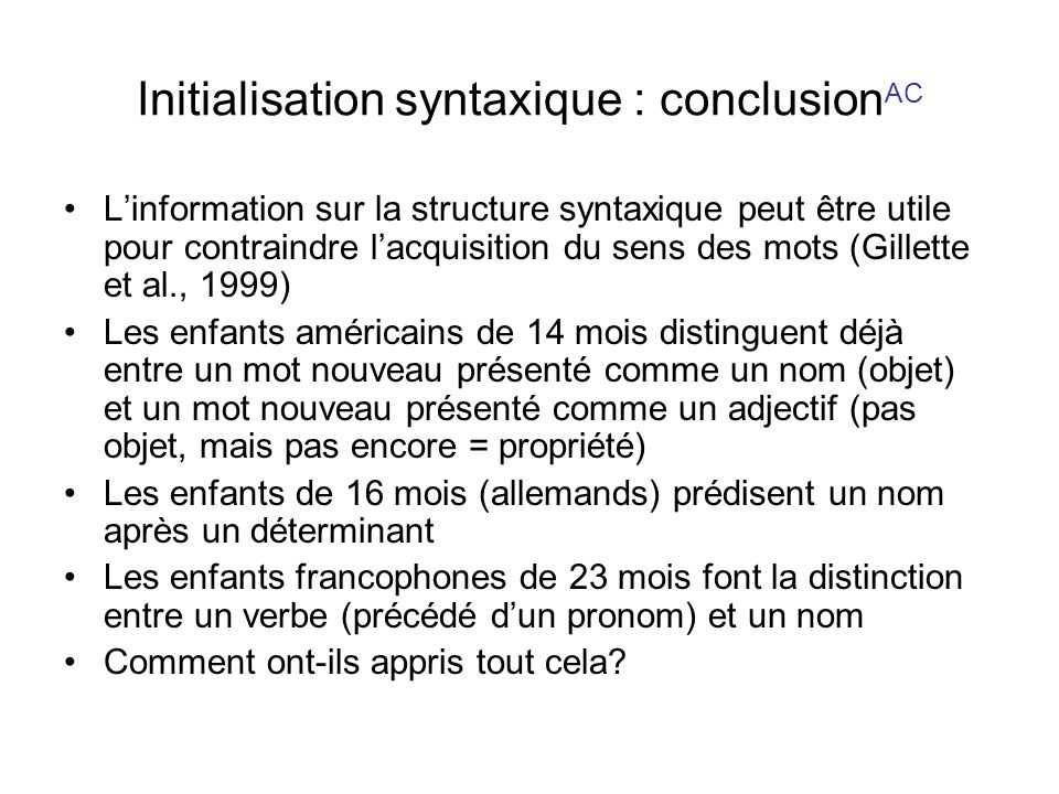 Initialisation syntaxique : conclusionAC