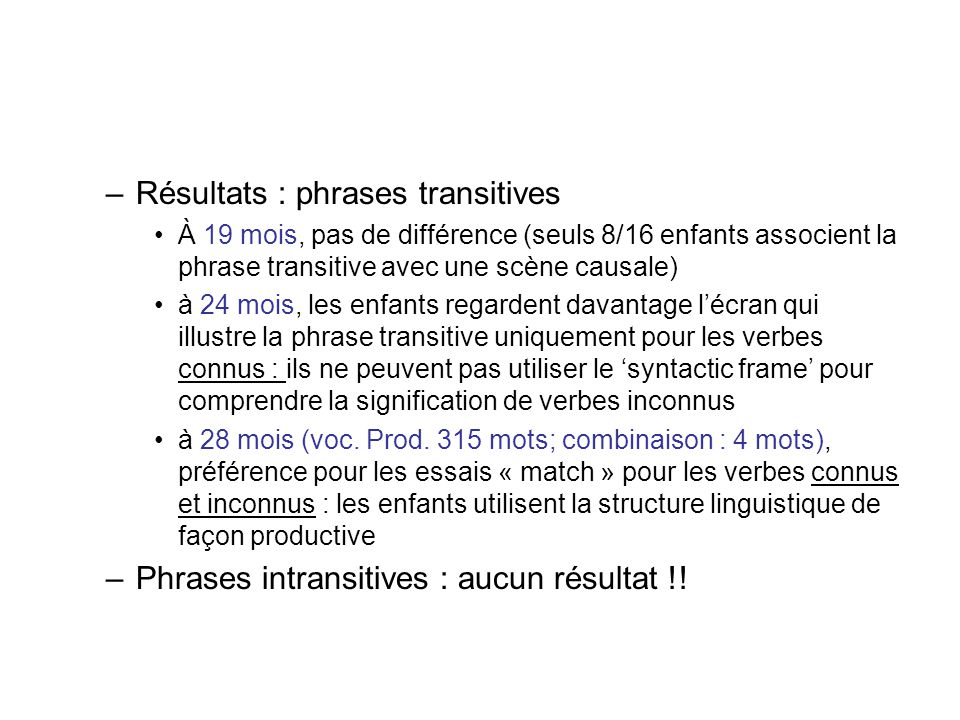 Résultats : phrases transitives