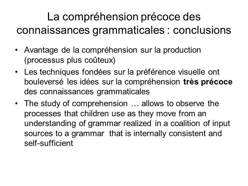 La compréhension précoce des connaissances grammaticales : conclusions