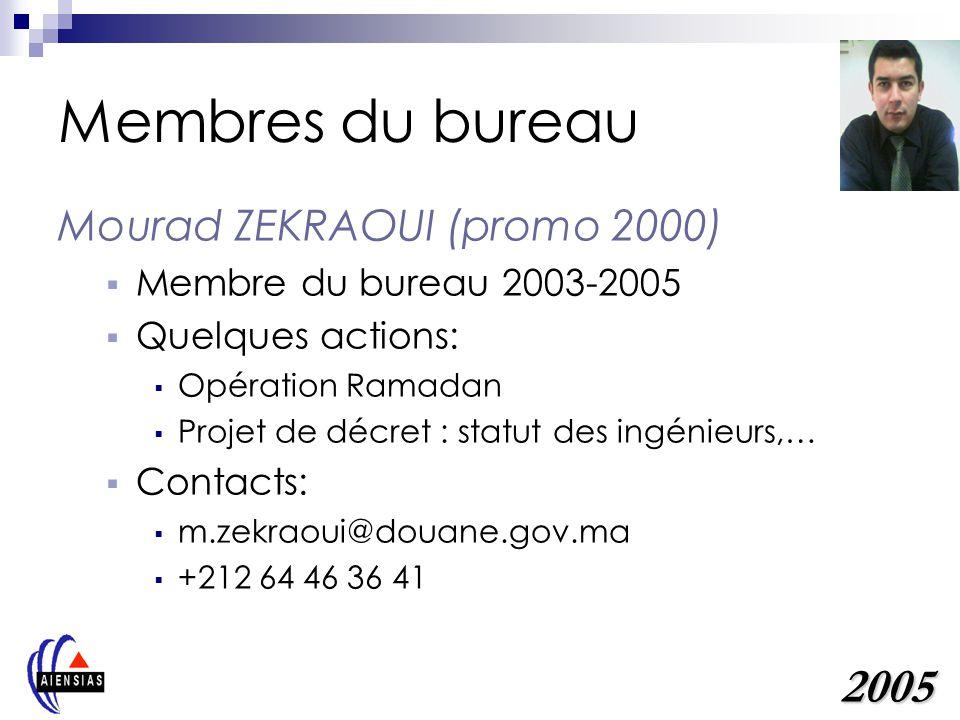 Membres du bureau 2005 Mourad ZEKRAOUI (promo 2000)