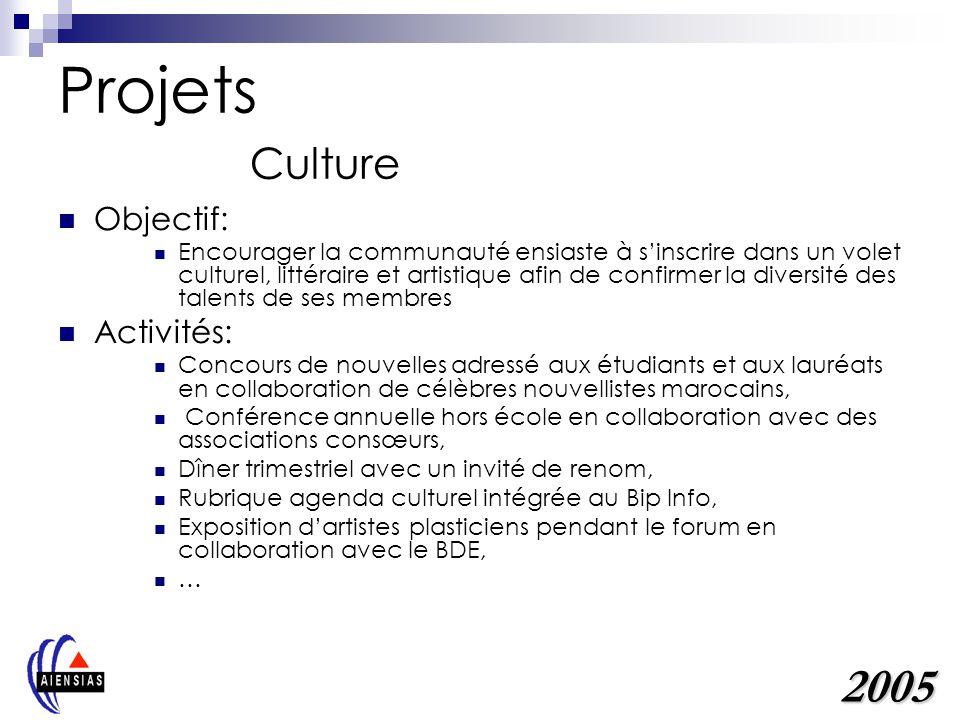 Projets Culture 2005 Objectif: Activités: