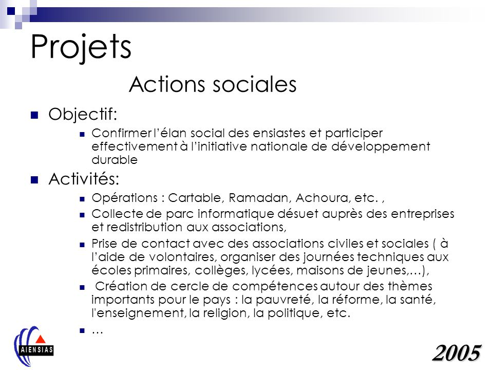 Projets Actions sociales