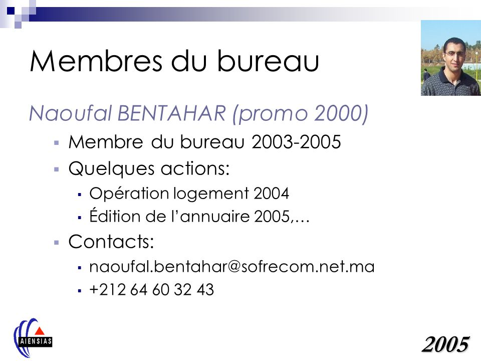 Membres du bureau 2005 Naoufal BENTAHAR (promo 2000)