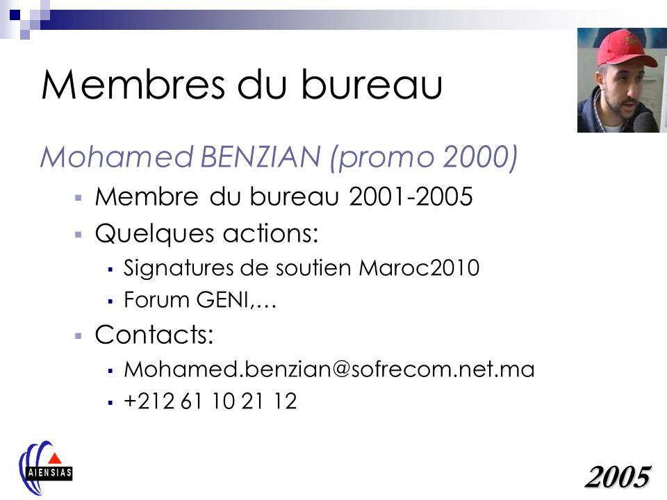 Membres du bureau 2005 Mohamed BENZIAN (promo 2000)
