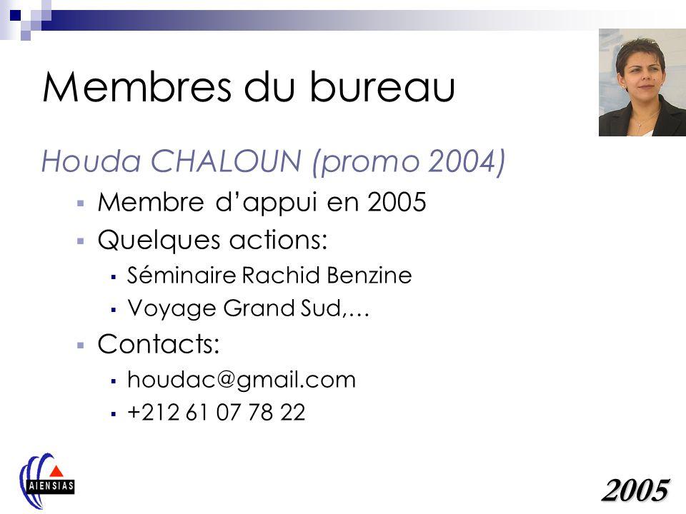 Membres du bureau 2005 Houda CHALOUN (promo 2004)