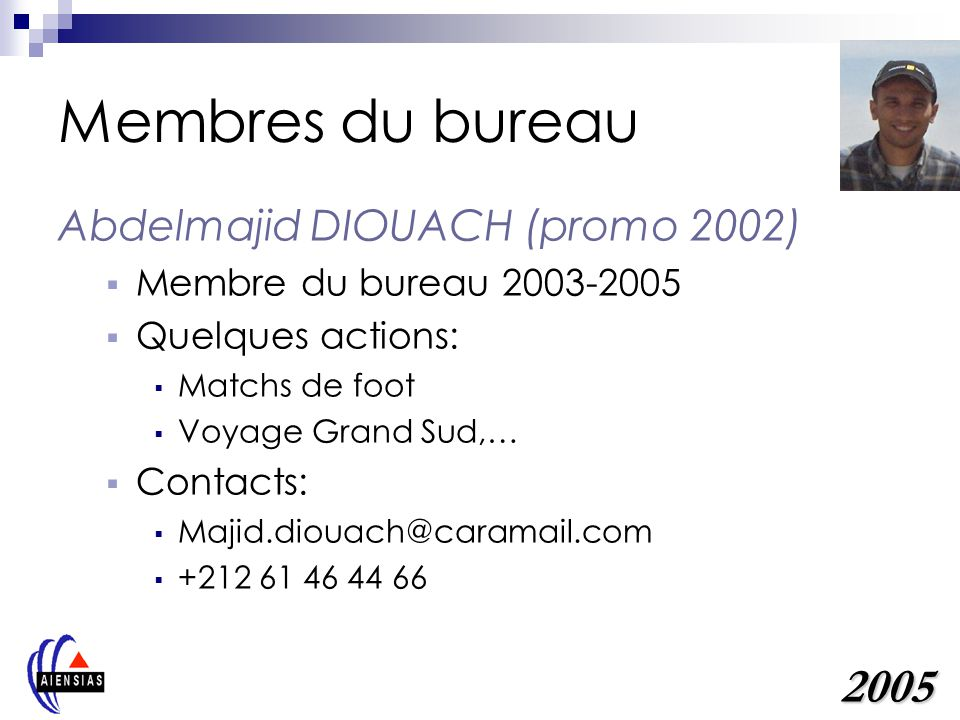 Membres du bureau 2005 Abdelmajid DIOUACH (promo 2002)