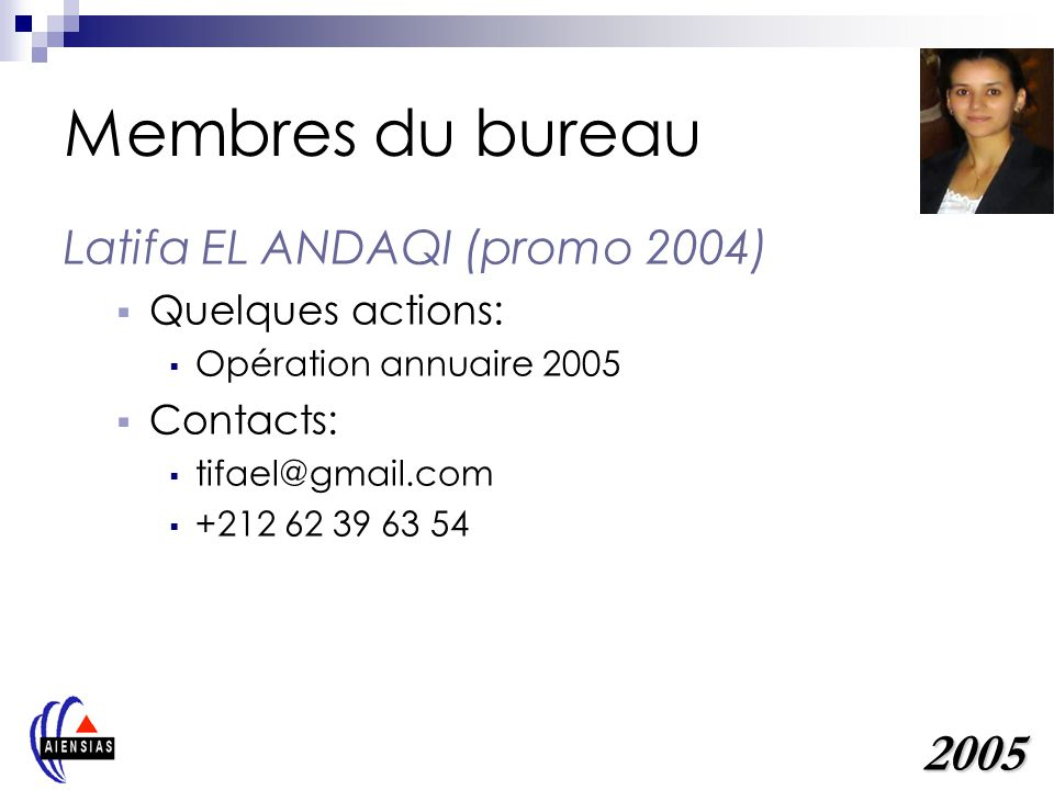 Membres du bureau 2005 Latifa EL ANDAQI (promo 2004) Quelques actions:
