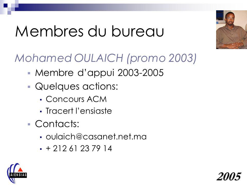 Membres du bureau 2005 Mohamed OULAICH (promo 2003)