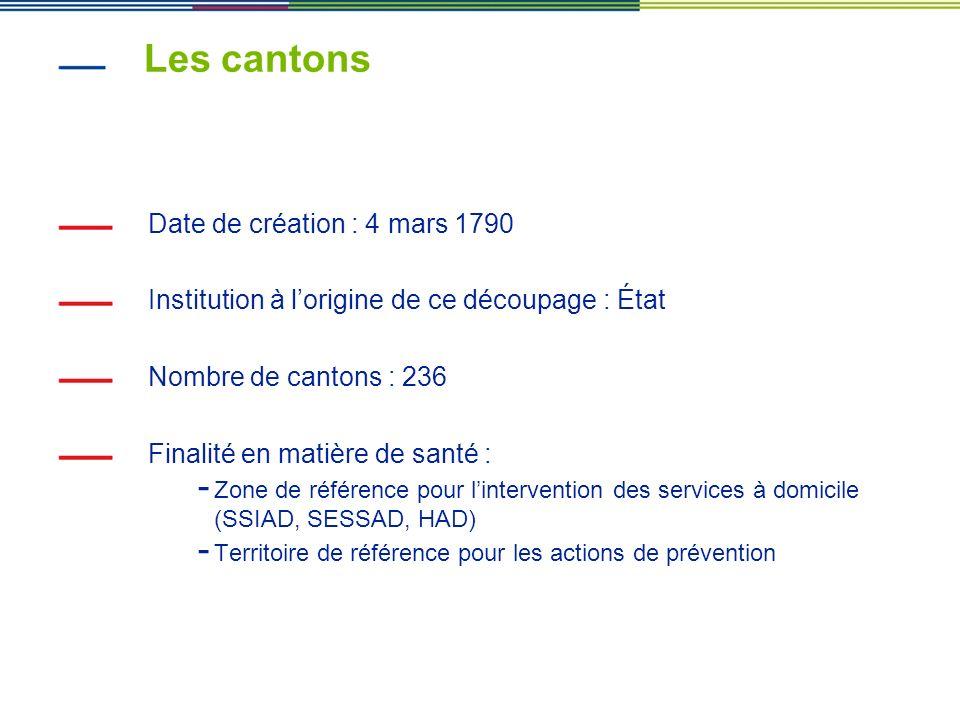 Les cantons Date de création : 4 mars 1790