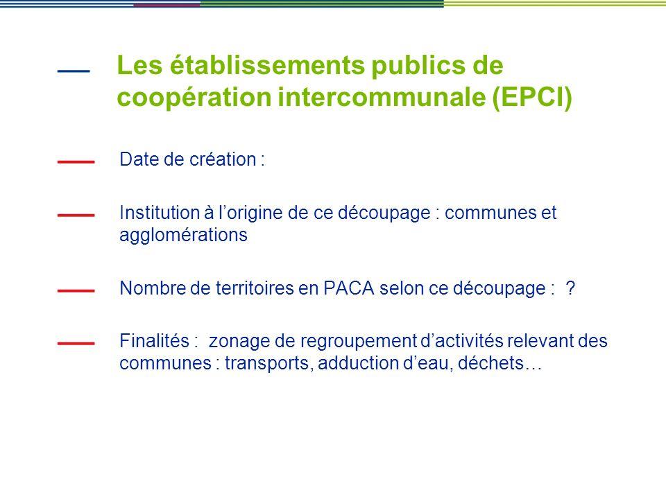 Les établissements publics de coopération intercommunale (EPCI)