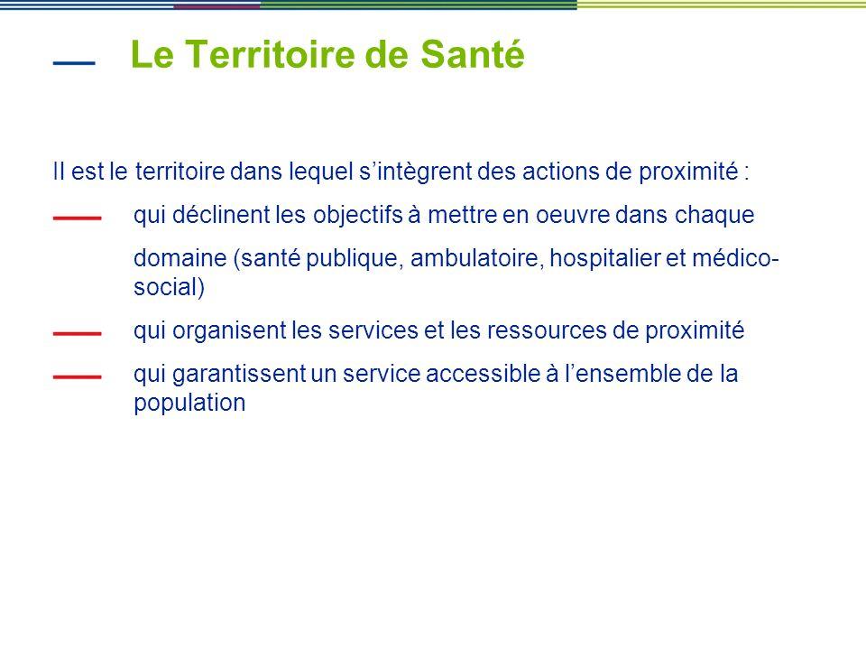 Le Territoire de Santé Il est le territoire dans lequel s'intègrent des actions de proximité :