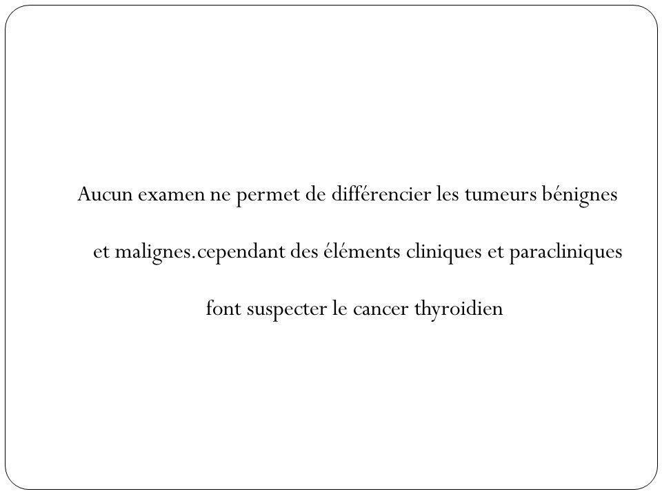Aucun examen ne permet de différencier les tumeurs bénignes et malignes.cependant des éléments cliniques et paracliniques font suspecter le cancer thyroidien