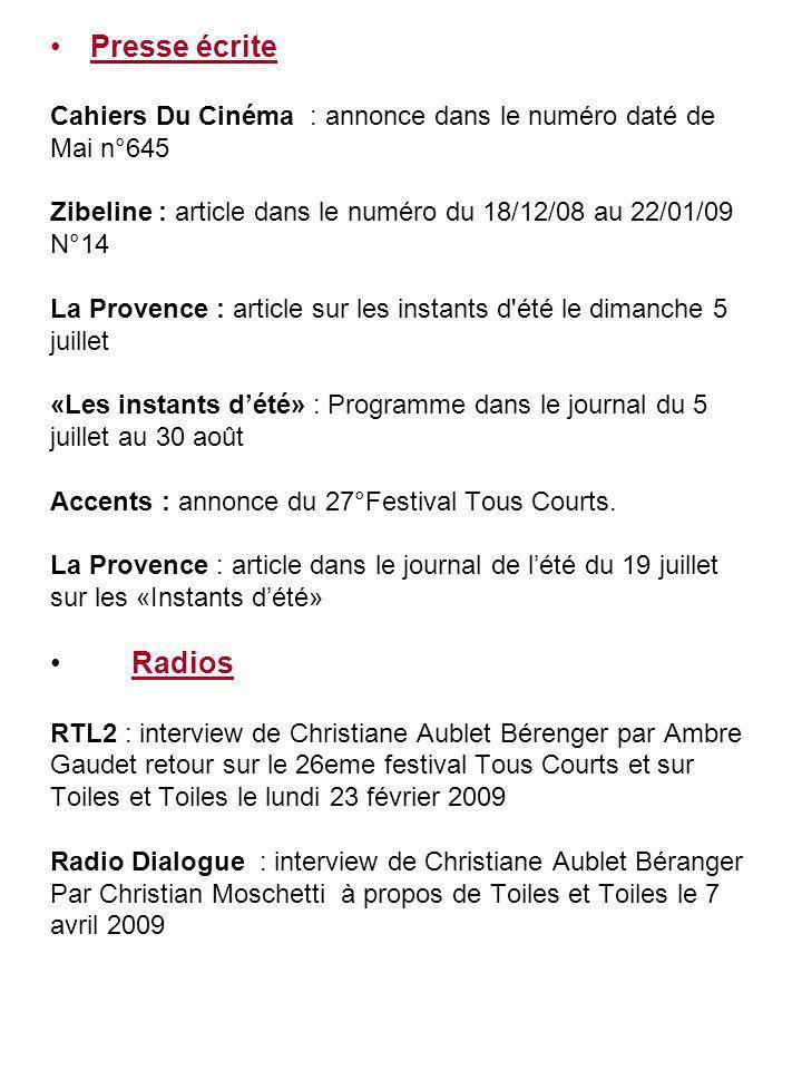 Presse écrite Cahiers Du Cinéma : annonce dans le numéro daté de. Mai n°645. Zibeline : article dans le numéro du 18/12/08 au 22/01/09.
