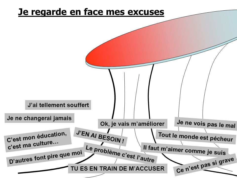 Je regarde en face mes excuses