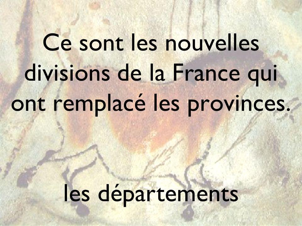 Ce sont les nouvelles divisions de la France qui ont remplacé les provinces.