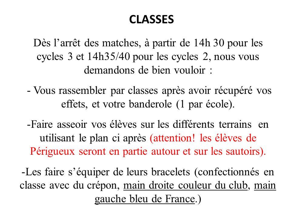 CLASSES Dès l'arrêt des matches, à partir de 14h 30 pour les cycles 3 et 14h35/40 pour les cycles 2, nous vous demandons de bien vouloir :