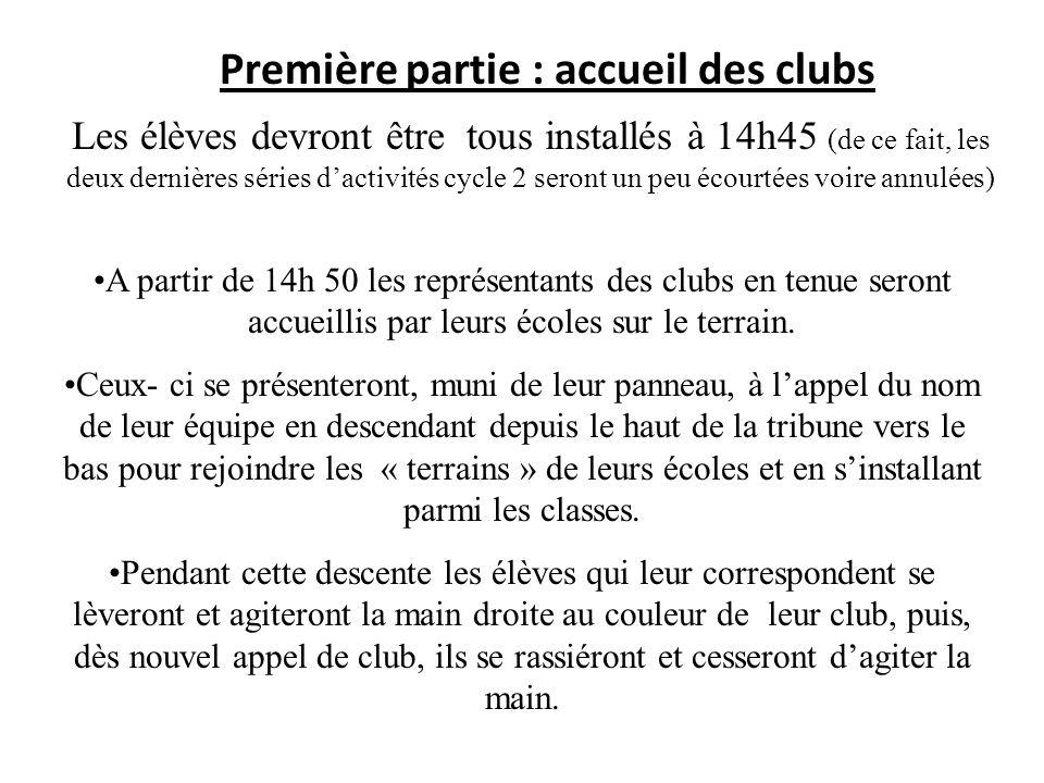 Première partie : accueil des clubs