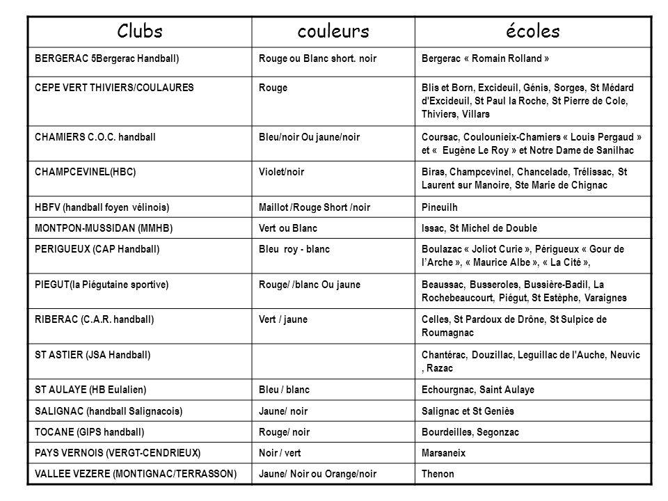 Clubs couleurs écoles BERGERAC 5Bergerac Handball)