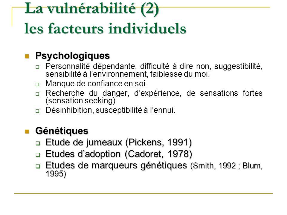 La vulnérabilité (2) les facteurs individuels