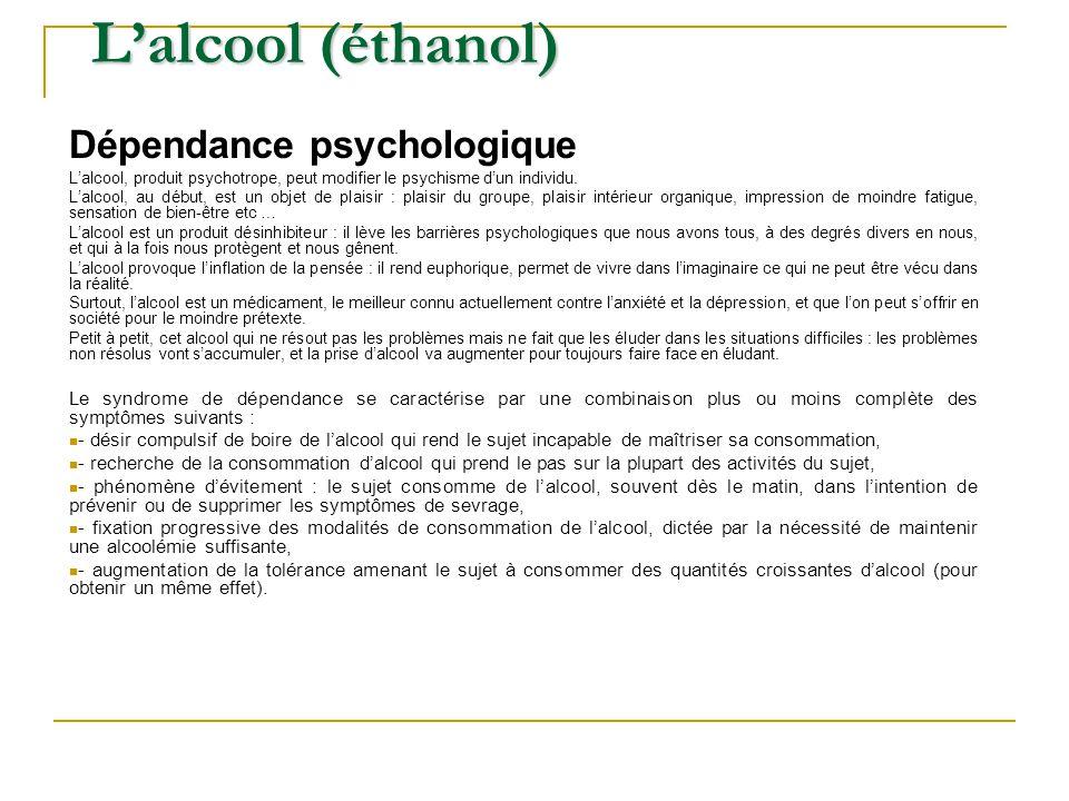 L'alcool (éthanol) Dépendance psychologique