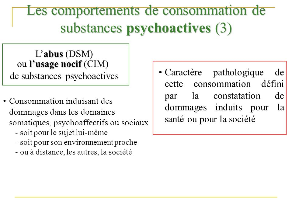 Les comportements de consommation de substances psychoactives (3)
