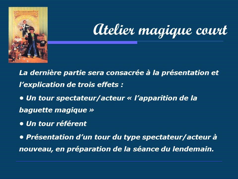 Atelier magique court La dernière partie sera consacrée à la présentation et l'explication de trois effets :