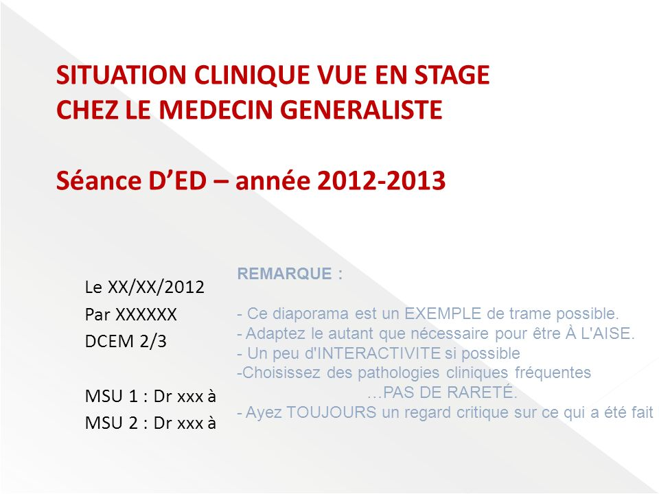 SITUATION CLINIQUE VUE EN STAGE