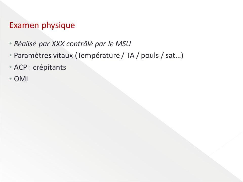 Examen physique Réalisé par XXX contrôlé par le MSU