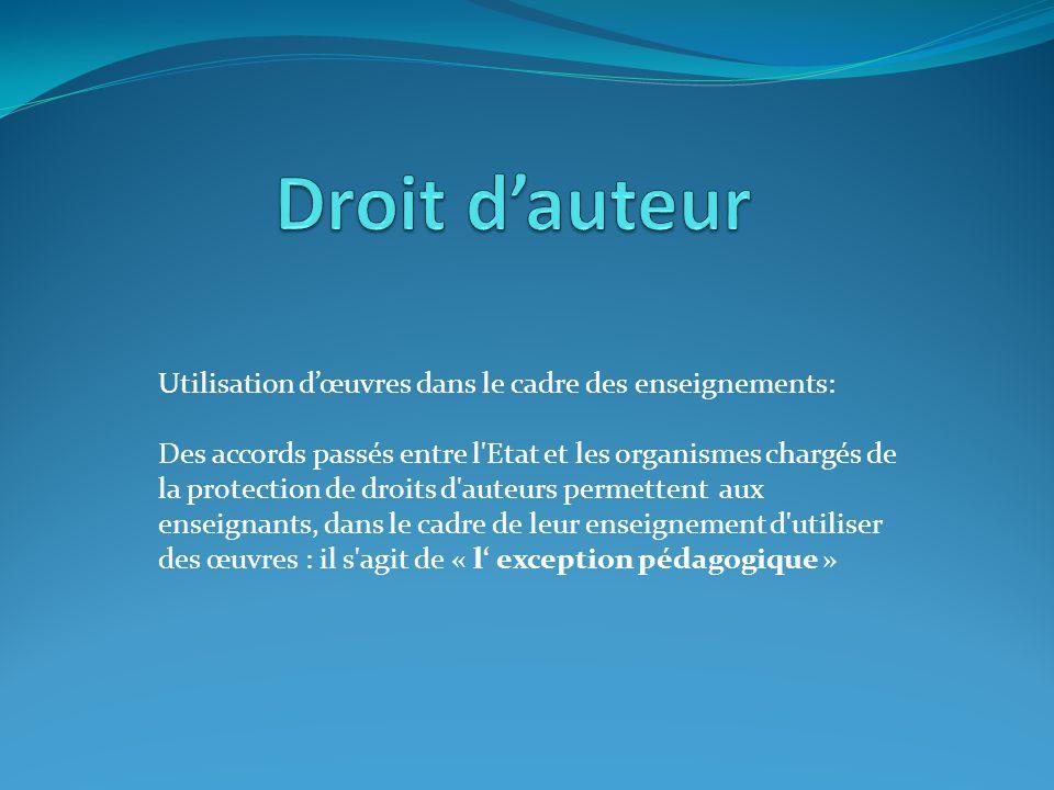 Droit d'auteur Utilisation d'œuvres dans le cadre des enseignements: