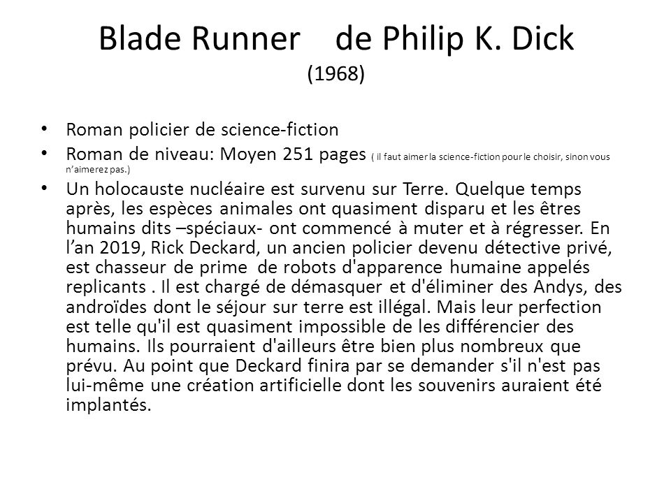 Blade Runner de Philip K. Dick (1968)