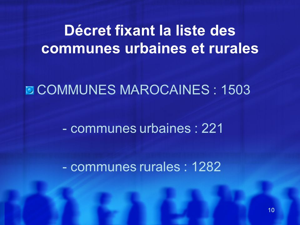Décret fixant la liste des communes urbaines et rurales