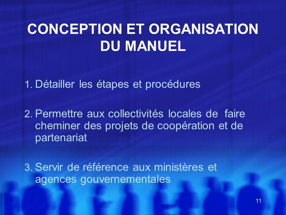 CONCEPTION ET ORGANISATION DU MANUEL