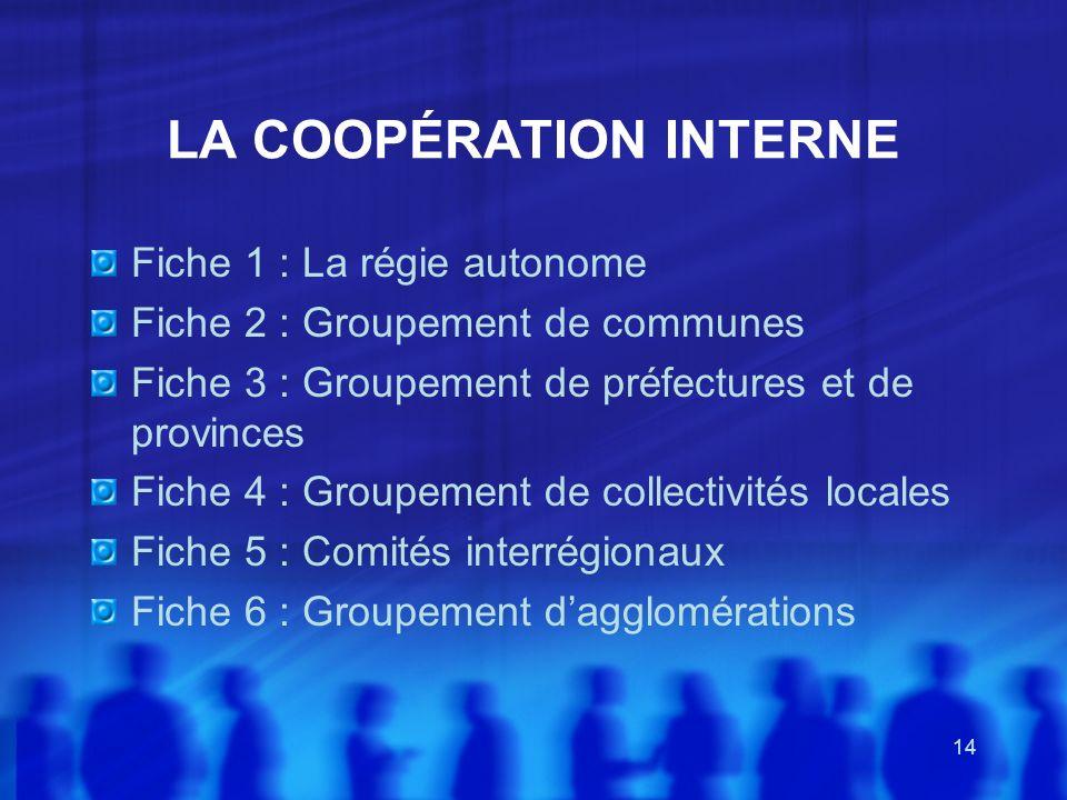 LA COOPÉRATION INTERNE