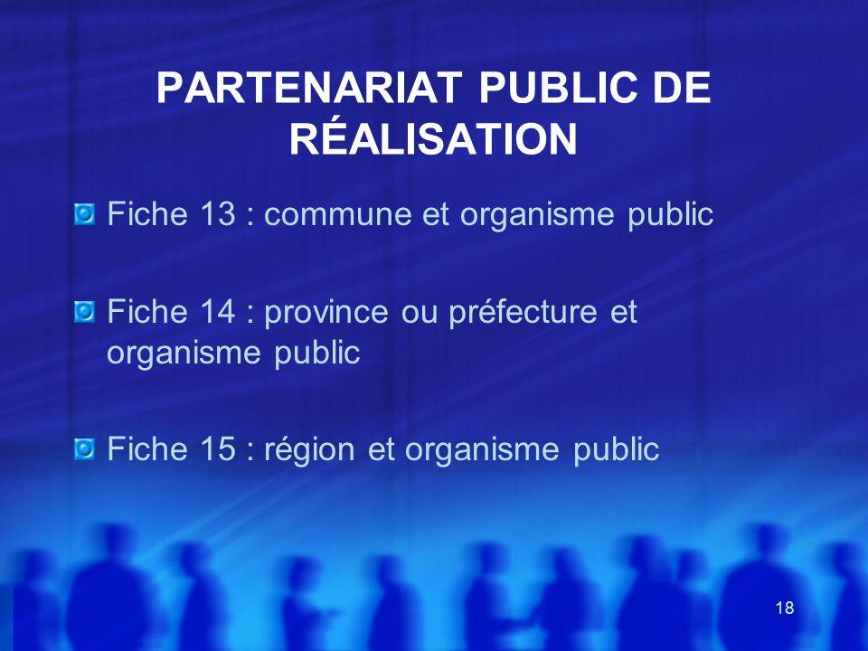 PARTENARIAT PUBLIC DE RÉALISATION