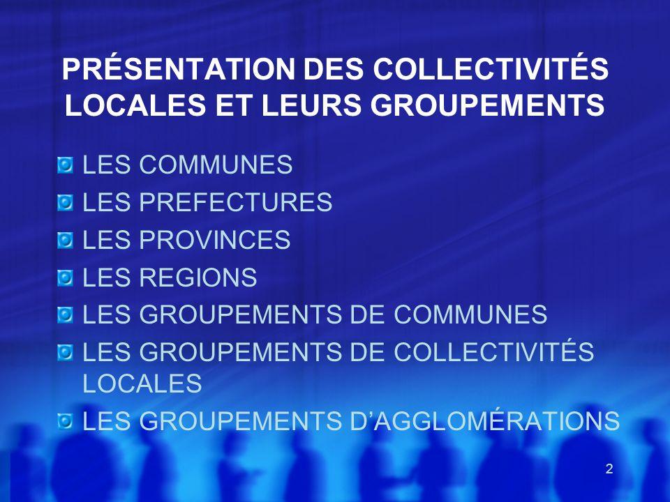 PRÉSENTATION DES COLLECTIVITÉS LOCALES ET LEURS GROUPEMENTS