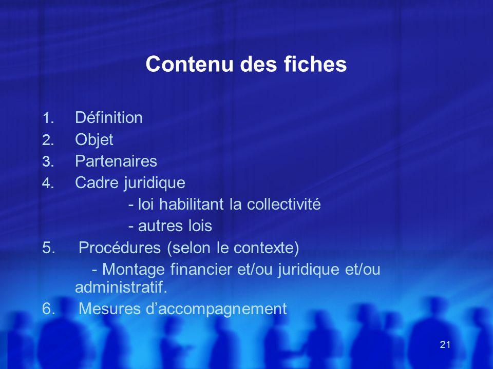 Contenu des fiches Définition Objet Partenaires Cadre juridique
