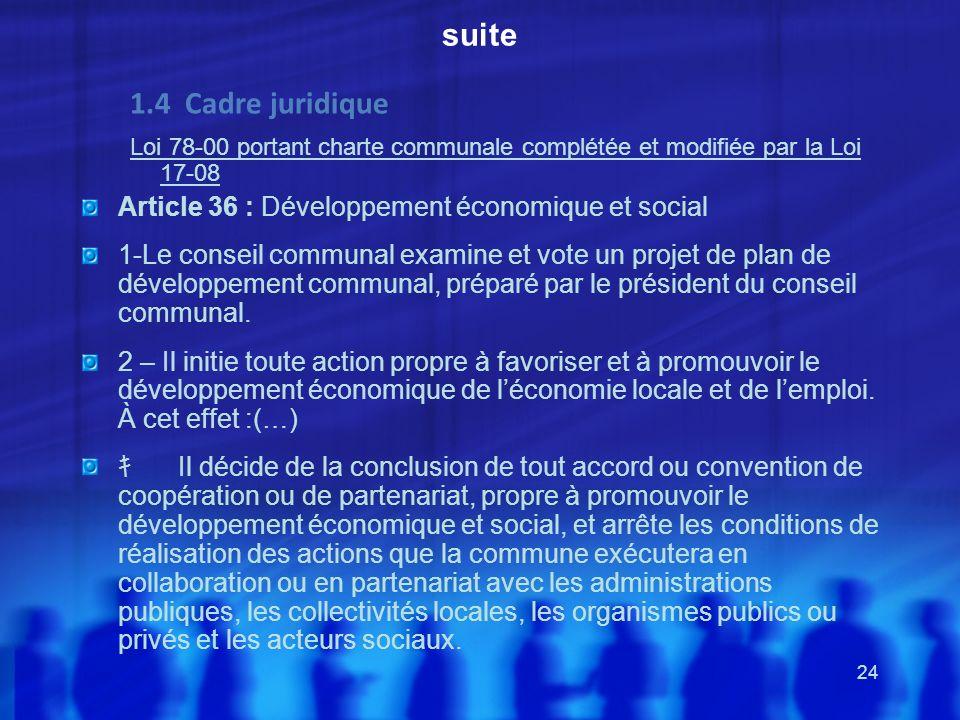 suite1.4 Cadre juridique. Loi 78-00 portant charte communale complétée et modifiée par la Loi 17-08.