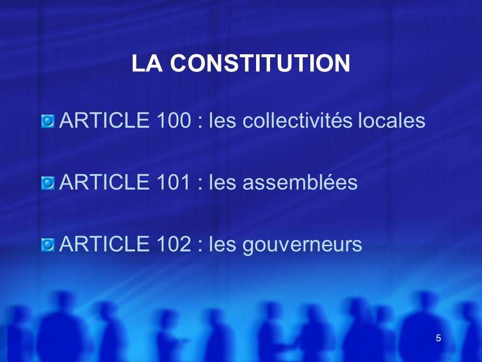 LA CONSTITUTION ARTICLE 100 : les collectivités locales
