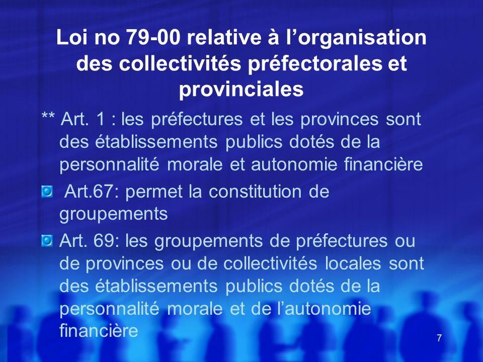 Loi no 79-00 relative à l'organisation des collectivités préfectorales et provinciales