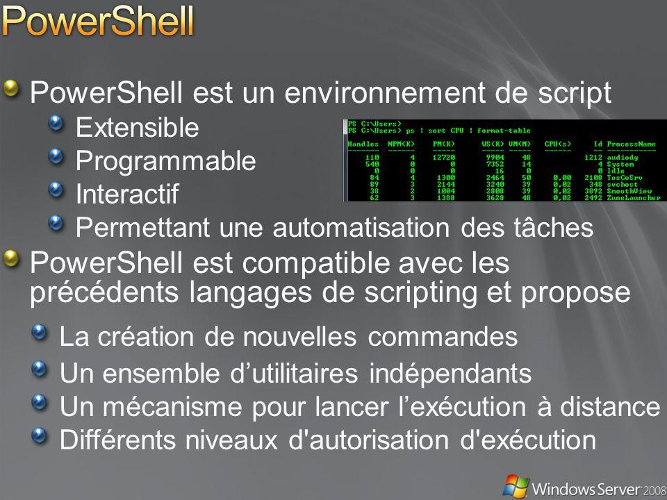PowerShell PowerShell est un environnement de script