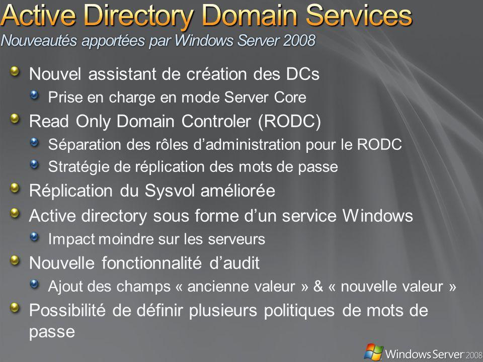 Active Directory Domain Services Nouveautés apportées par Windows Server 2008