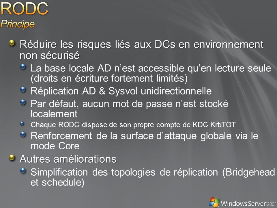 RODC Principe Réduire les risques liés aux DCs en environnement non sécurisé.