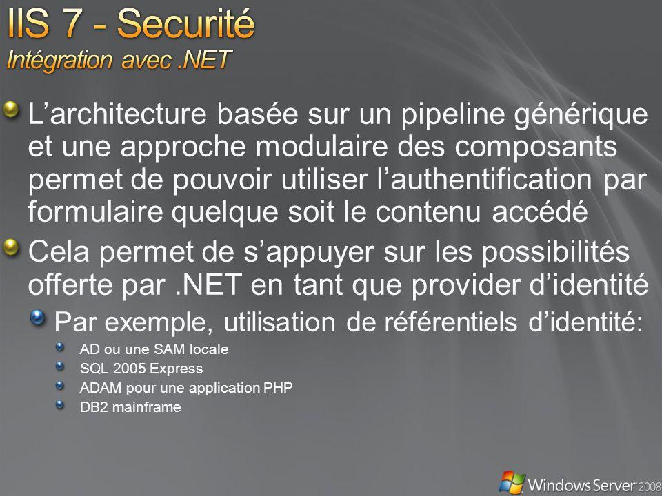 IIS 7 - Securité Intégration avec .NET