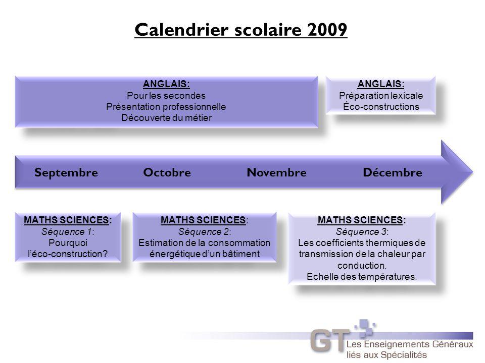 Calendrier scolaire 2009 Septembre Octobre Novembre Décembre ANGLAIS: