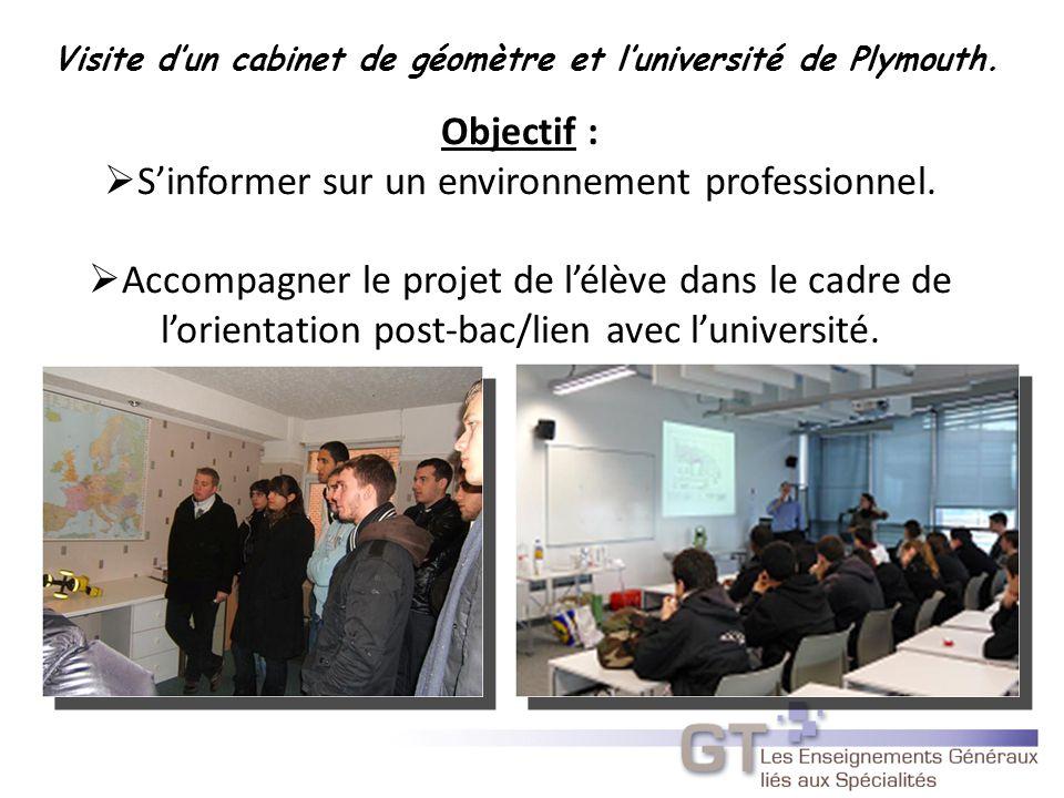 Visite d'un cabinet de géomètre et l'université de Plymouth.